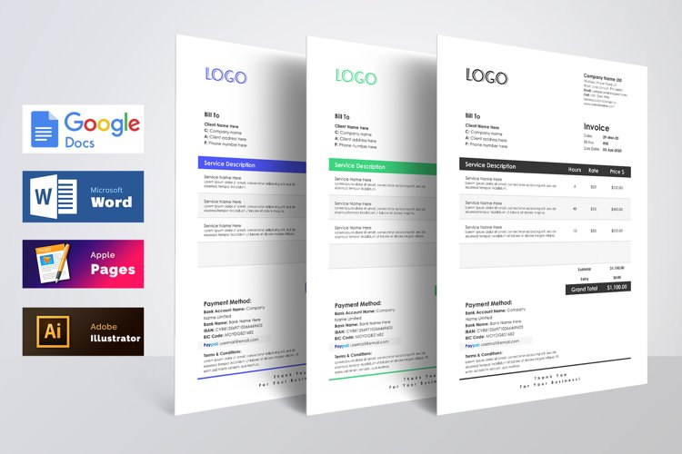 Invoice Template Word Apple Pages Google Docs example image 1
