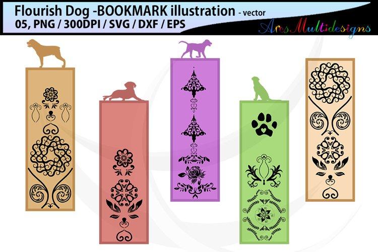 dog flourish bookmark clipart illustration / dog flourish example image 1