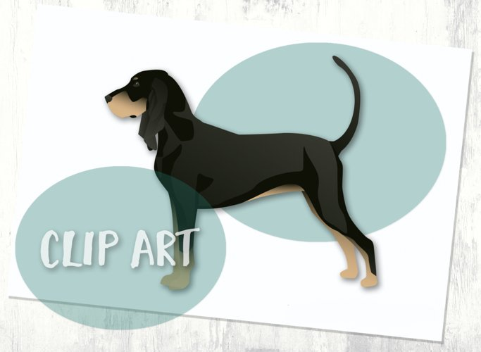 Black and Tan Coonhound Dog Breed Clip Art