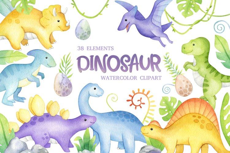 Watercolor Dinosaur Clipart, cute dino nursery wall art
