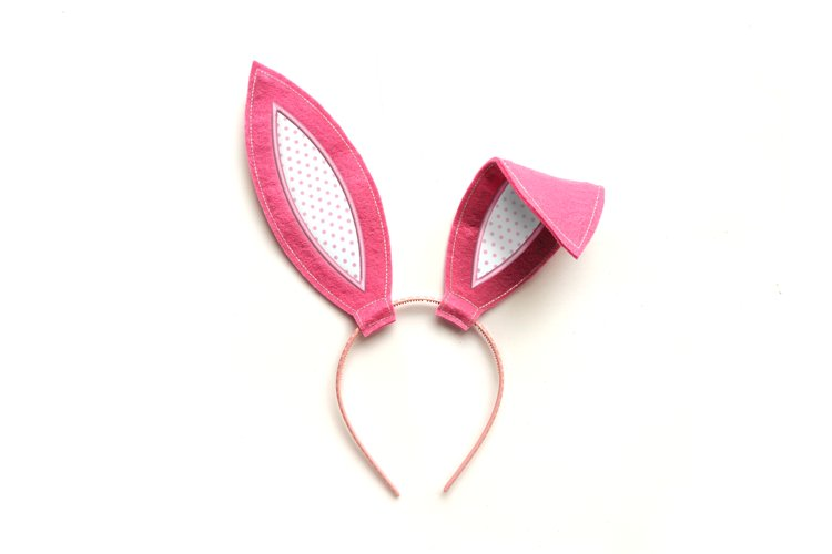 Bunny Costume Ears ITH Headband Slider Applique Embroidery
