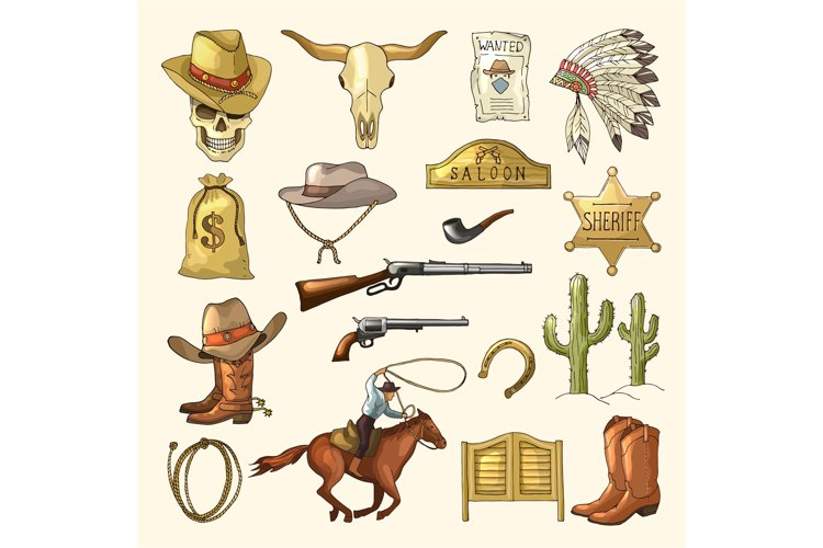 Colored illustrations of wild west symbols. Western vintage example image 1