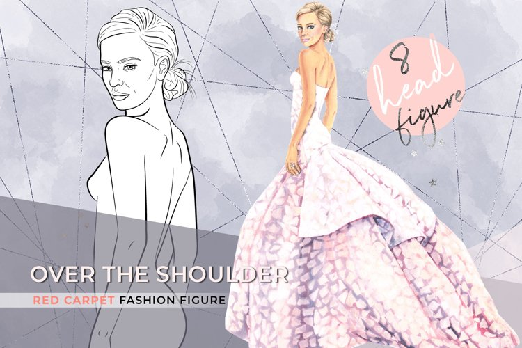 Over the shoulder, 8 heads fashion croqui template
