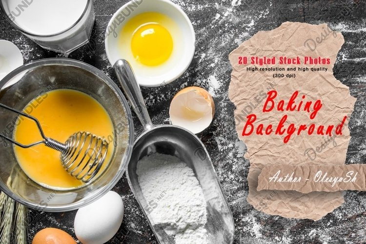 20 Baking background. Baking for cookies, pasta, pizza. example image 1