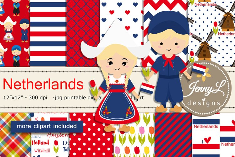 Netherlands Digital Papers and Windmill Clipart example image 1