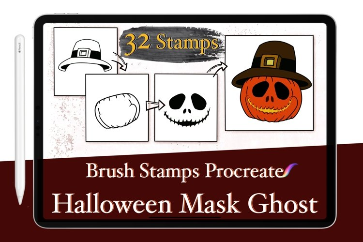 Procreate Brush Stamps Ghost Halloween Scarecrow Pumpkin