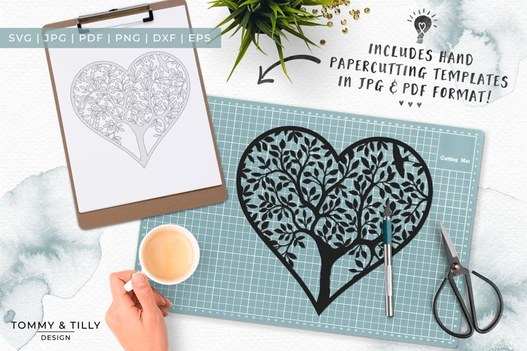 Heart Tree - Papercut Template SVG EPS DXF PNG PDF JPG example 4