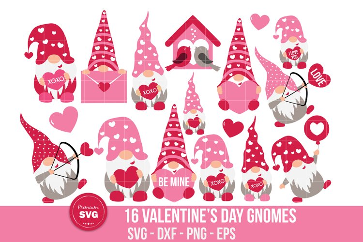 Valentines day gnomes bundle svg, St. Valentines cut files