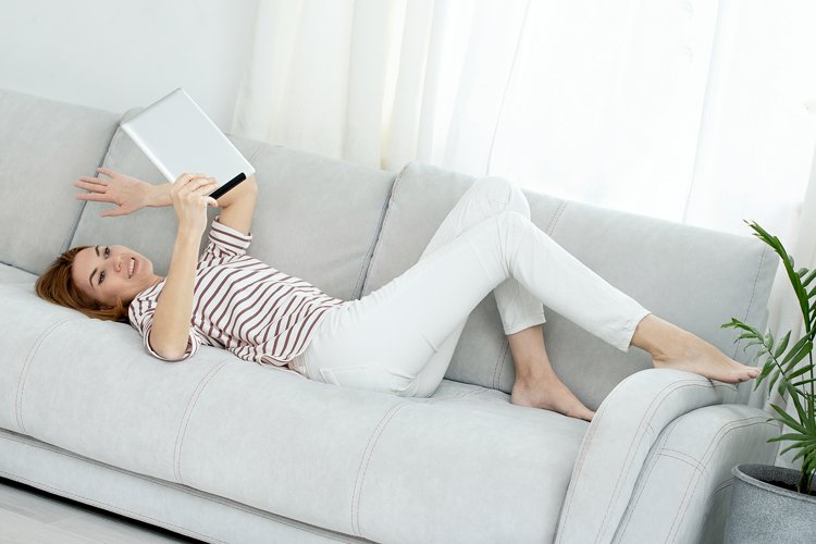 Woman communicates by video link. chatting online