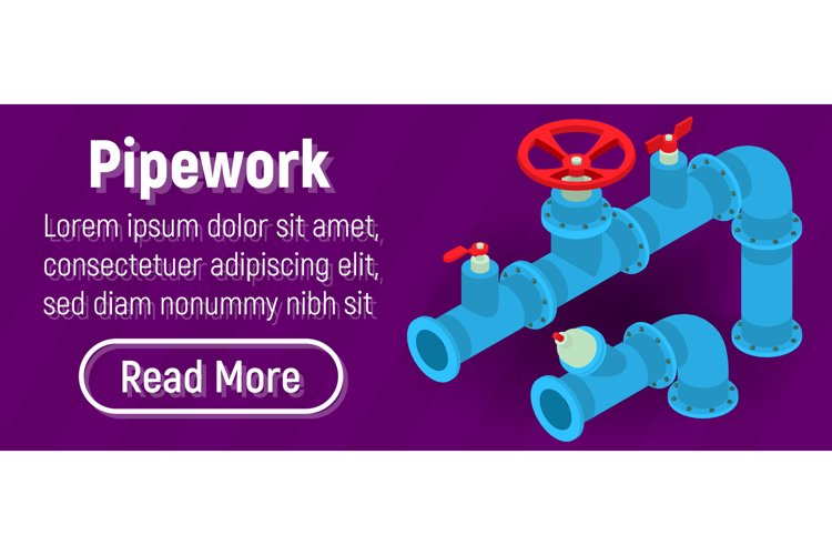 Pipework concept banner, comics isometric style example image 1