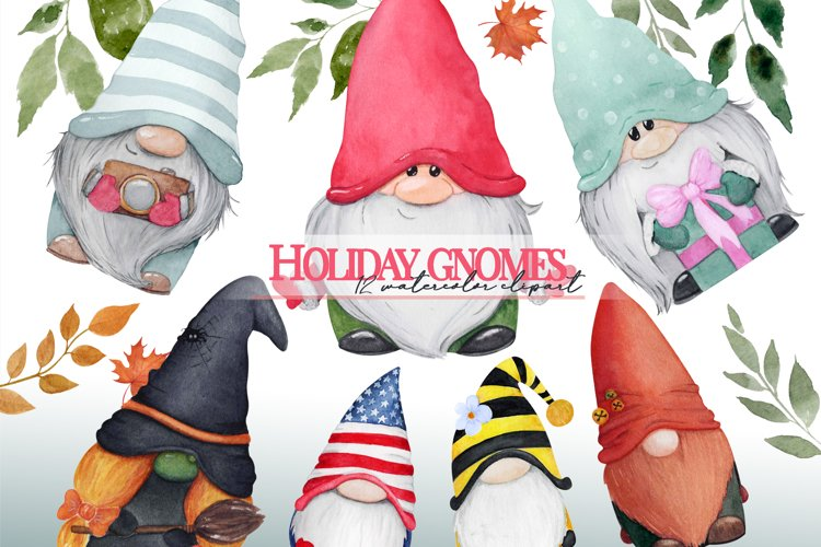 Watercolor gnome christmas png clipart. Holiday gnome example image 1