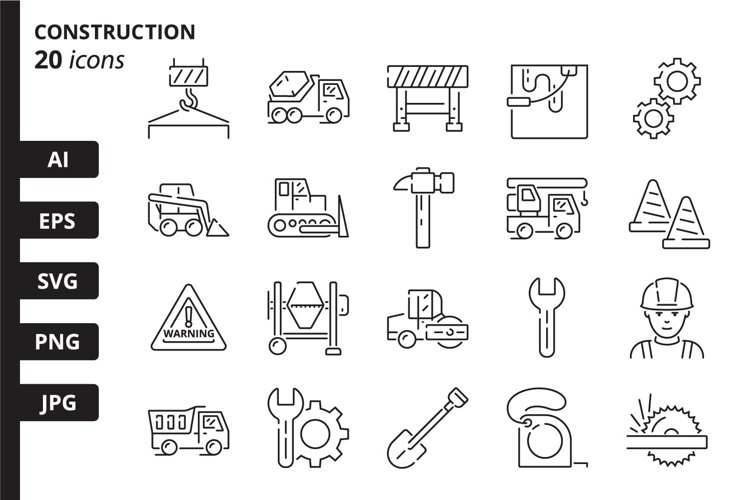20 Construction Icons, colored and outline style