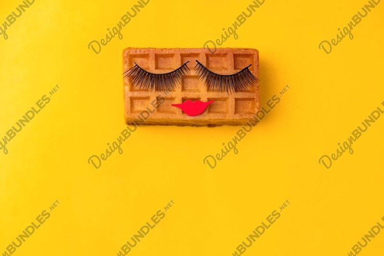 Beauty sweet Viennese waffle with makeup example image 1