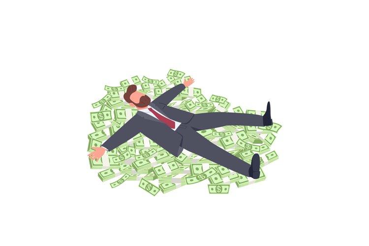 Businessman lying on money flat concept vector illustration example