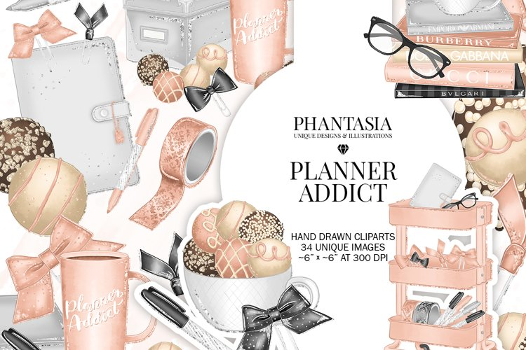 Planner Addict Watercolor Clipart