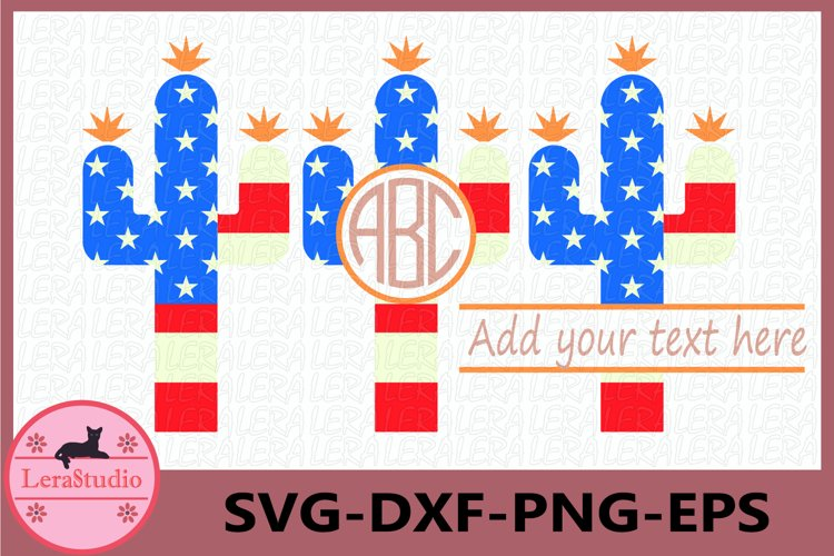 Cactus Svg, 4th of July SVG, Cactus Monogram Svg example image 1