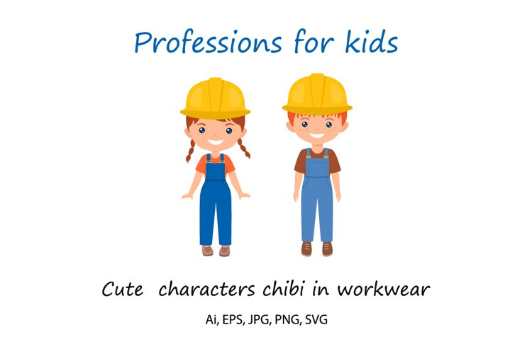 Cute chibi character in workwear. Professions for kids