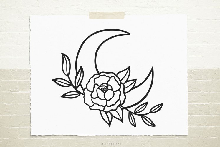 Moon wildflowers svg cut file example image 1
