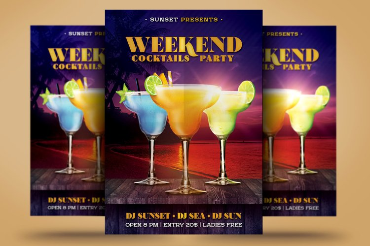 Summer Weekend Cocktail Flyer
