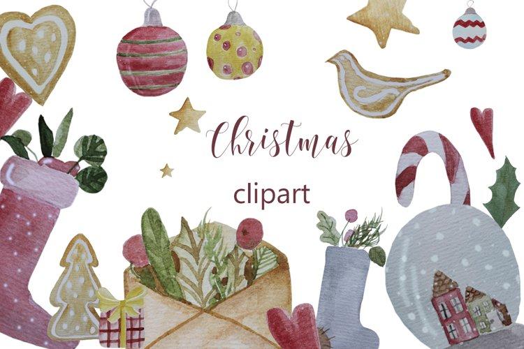 Christmas watercolor digital clipart, winter, lollipop example image 1