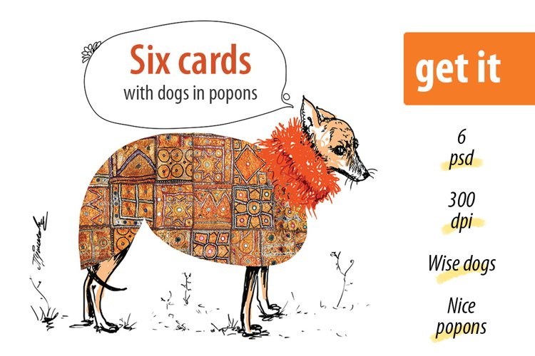 Dogs in popons - 6 cards