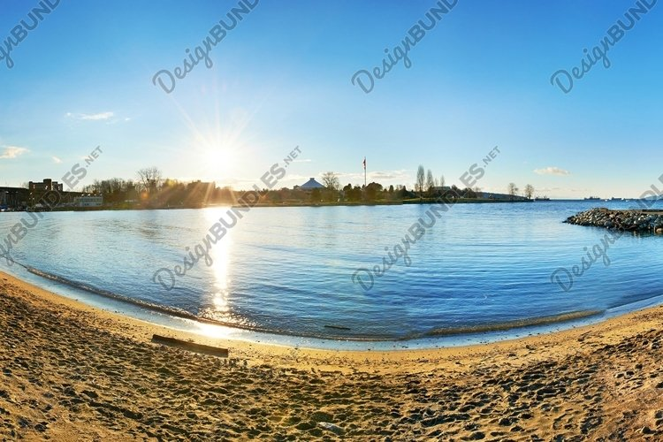 Panoramic view from the sandy beach side example image 1
