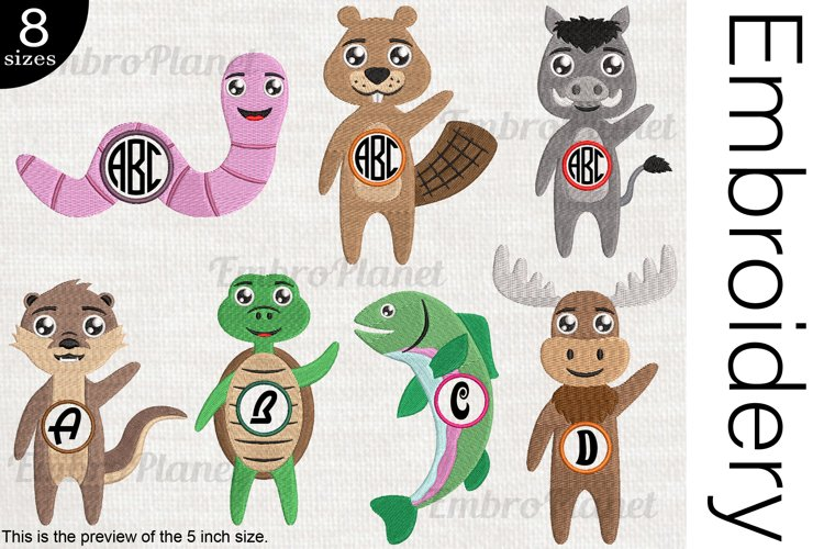 Hi Animals Monogram - Embroidery Files - 1481e example image 1