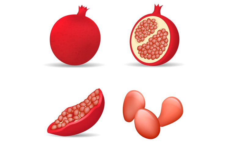 Pomegranate juice seeds icons set, realistic style example image 1