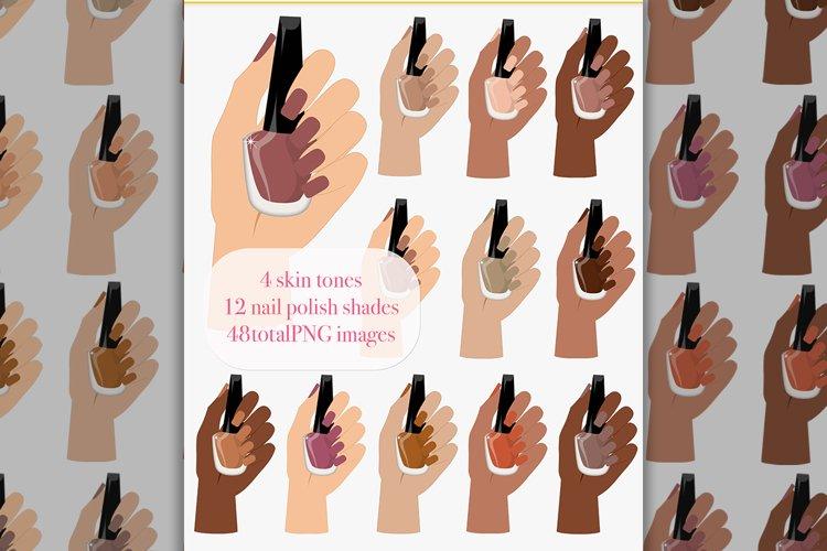 Nail polish clipart, hand pose, neutral nails, nail salon