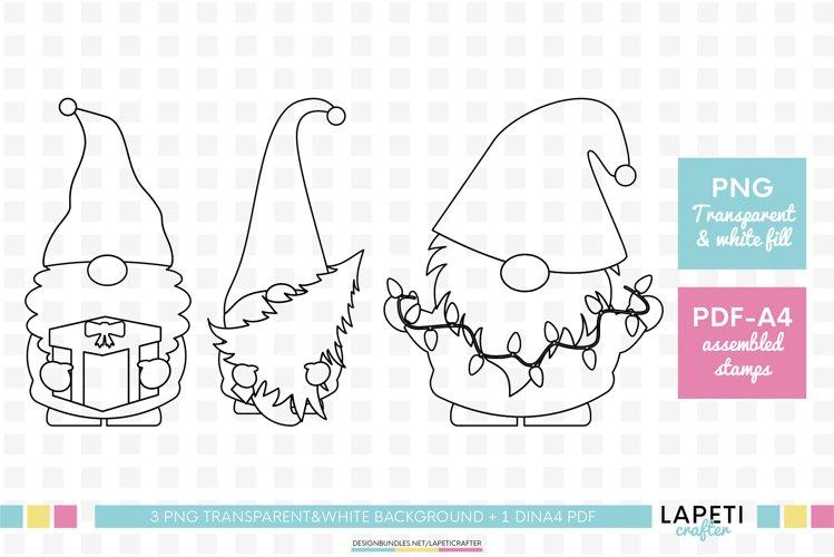 Christmas gnome digital stamp, Christmas coloring sheet example image 1