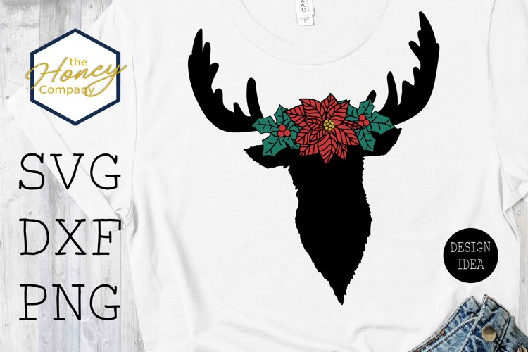Reindeer Poinsettia Flower Crown SVG PNG DXF Christmas File