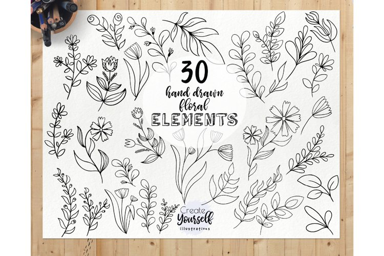Hand drawn botanical elements - doodle floral leaves clipart example image 1