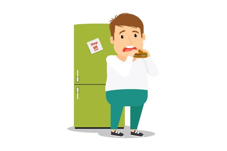 Fat man eating hamburger example image 1