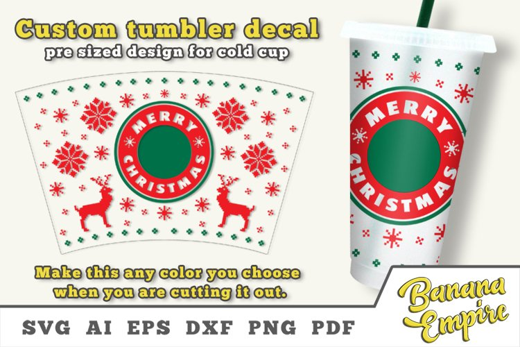Christmas cold cup decal, Merry Christmas SVG, Sublimation example image 1