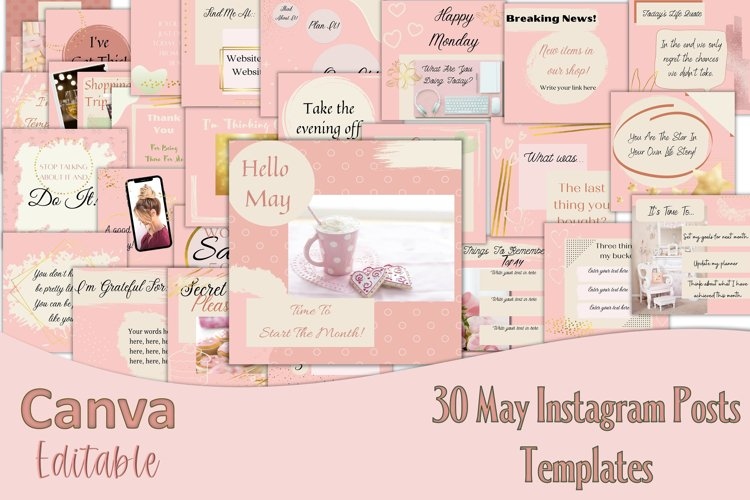 Canva Editable Month of May 30 Instagram post templates