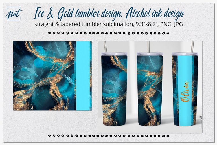 20oz tumbler design| Ice and gold tumbler sublimation design
