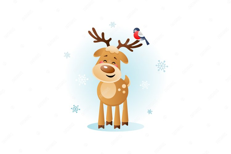 Merry Deer with Bullfinch. Cute Christmas cartoon character. example image 1