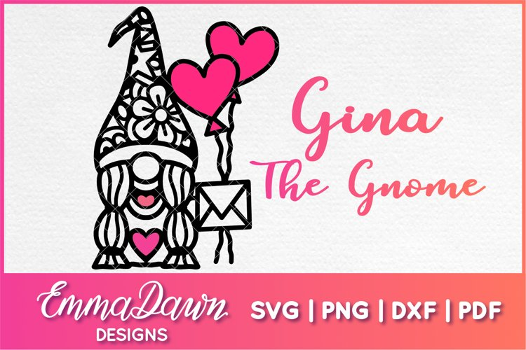 GINA THE GNOME SVG VALENTINES DAY MANDALA ZENTANGLE DESIGN example image 1