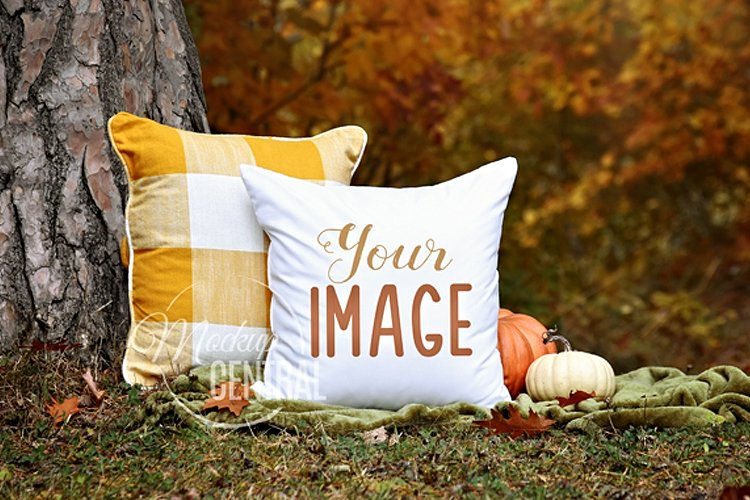 Country Fall Rustic Decor Square Mockup Pillow, JPG example image 1