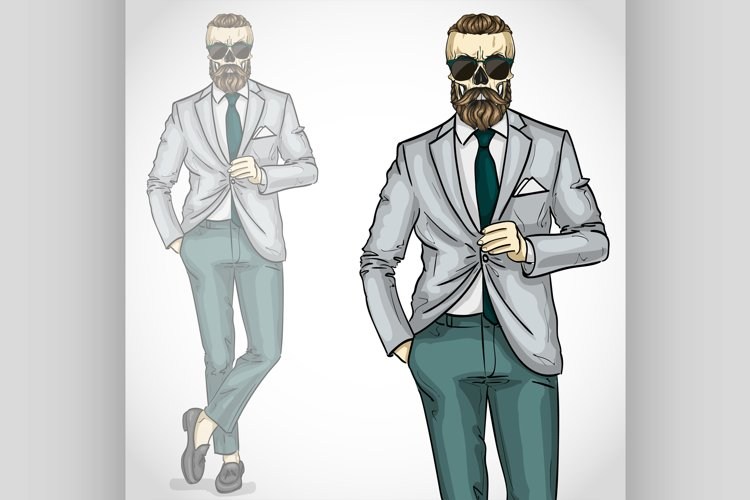 Vector man with skull and beard, moustaches example image 1