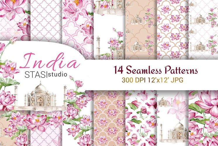 Taj Mahal Watercolor Digital Paper Pack Lotus Flowers example image 1