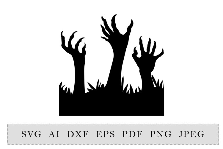 Zombie hands Silhouette Halloween Party decoration example image 1
