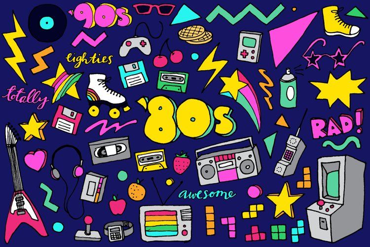 80s Clipart Hand Drawn Illustrations