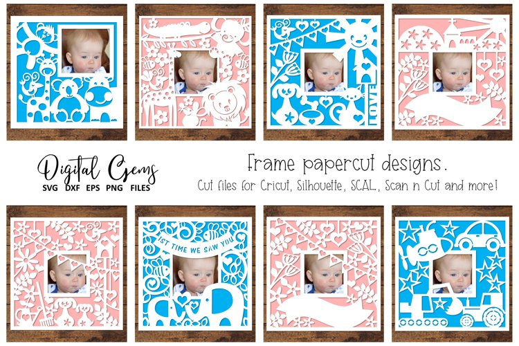 Pretty photo frame paper cut designs SVG / DXF / EPS files