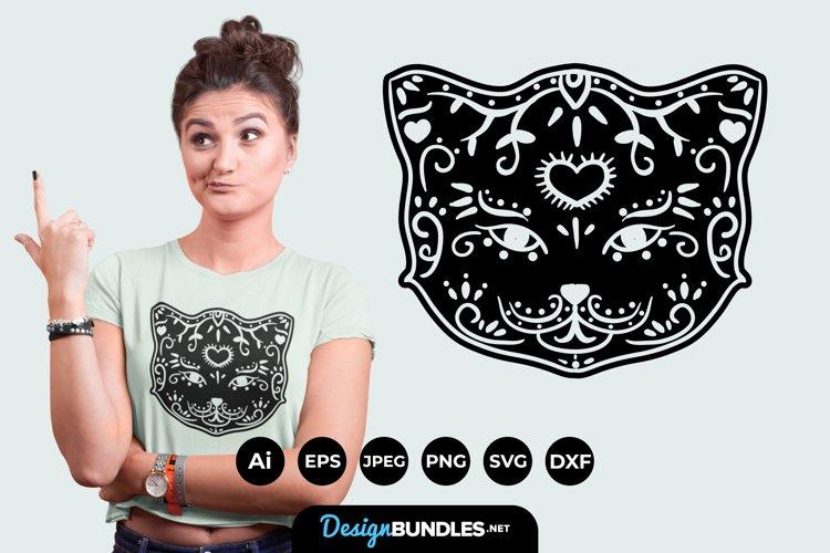 Black Cat Sugar Skull SVG example image 1
