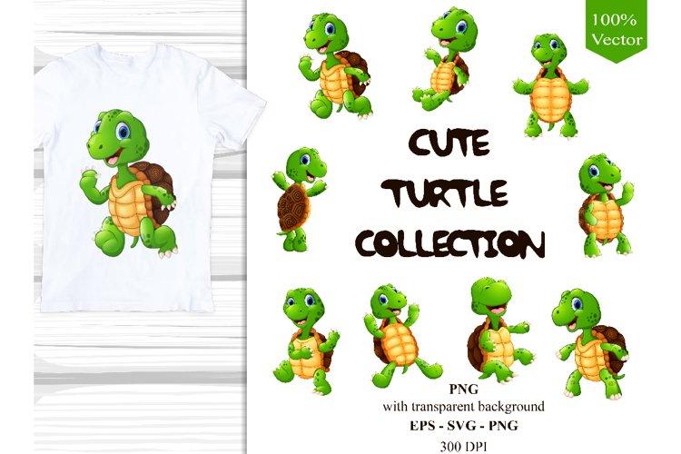 Cute Cartoon Turtles Collection Vector Clipart