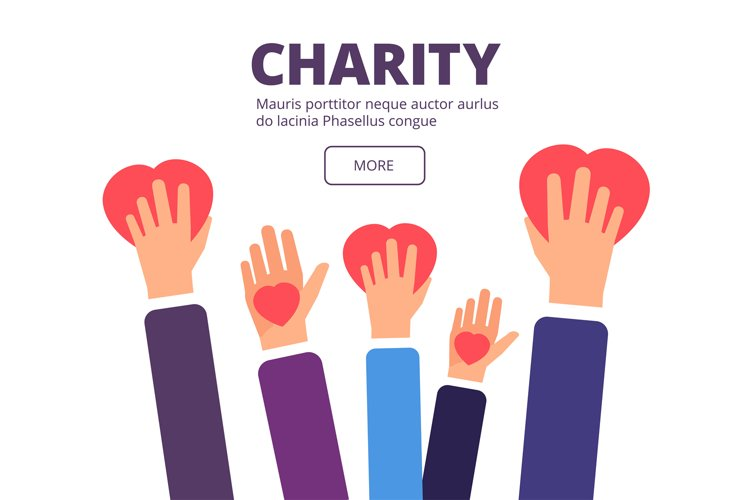 Charity and donation concept. Volunteer hands holding red he example image 1