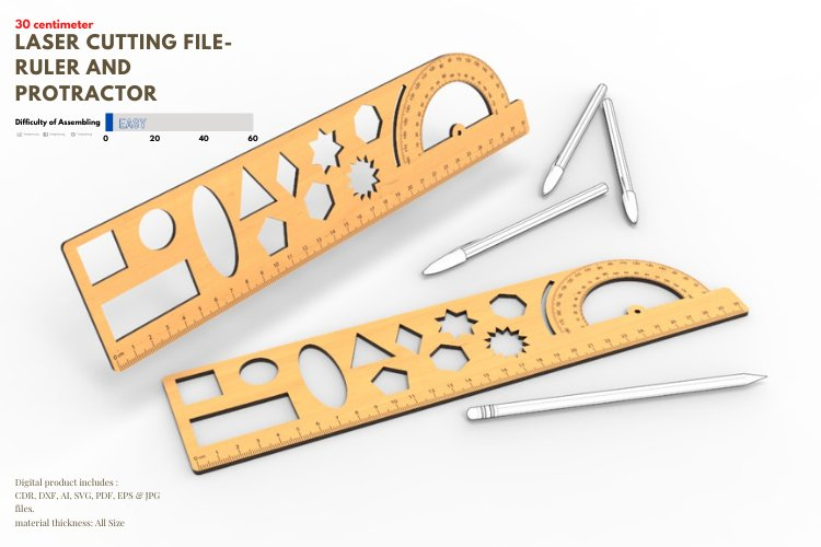 Ruler and Protractor- laser cutting file example image 1