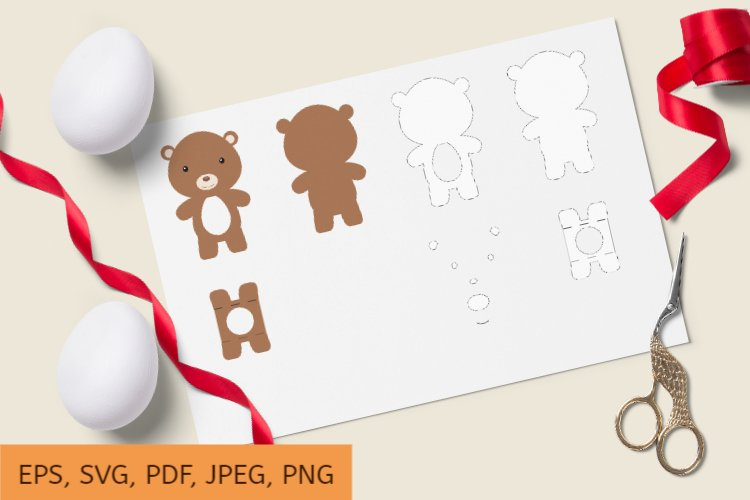 Cute Bear Chocolate Egg Holder Design, SVG Cutting File example image 1