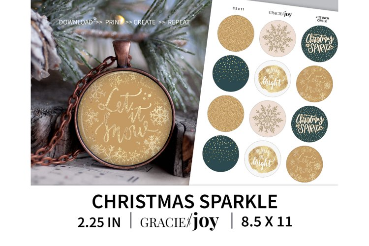 Christmas Sparkle 2.25 inch digital collage sheet example image 1